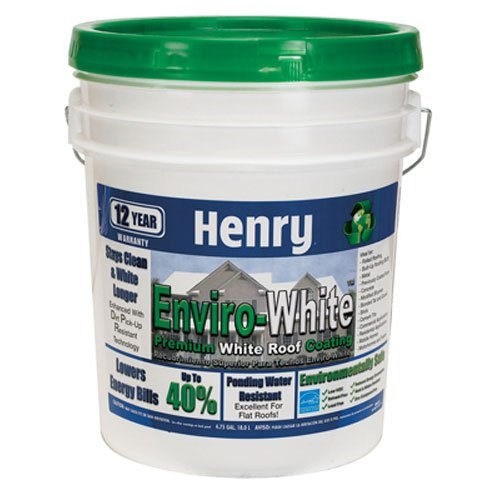 Henry Company HE687406 Enviro Premium White Roof Coating, 5 Gal, White