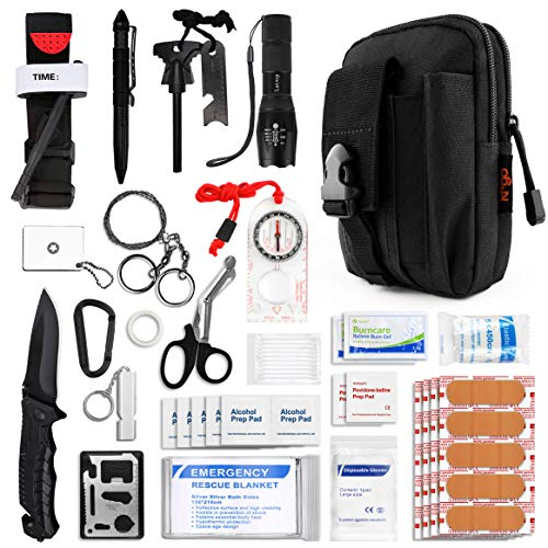 Kitgo Survival Kit Safety First Aid Kit with Pro Emergency Tool Outdoor Survival Gear Tactical Small Molle Pouch for Home Kitchen Car Boat Camping Hiking Hunting Cycling Adventures (Black)