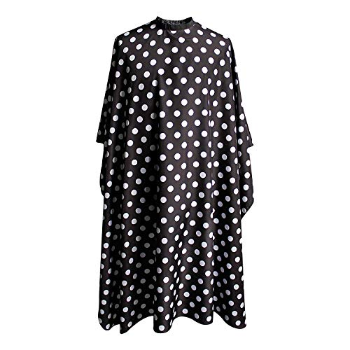 SMARTHAIR Professional Salon Cape Polyester Barber Cape Hair Cutting Cape,54'x62',Black and White Dots,C375001C
