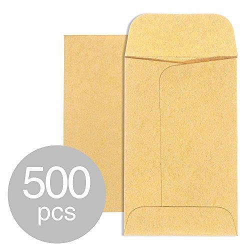 ACKO #7 Coin Envelopes 3 1/2 x 6 1/2 Small Parts Envelope with Gummed Flap for Home, Garden or Office Use, Brown Kraft Seed Envelopes Tip Envelopes 500packs
