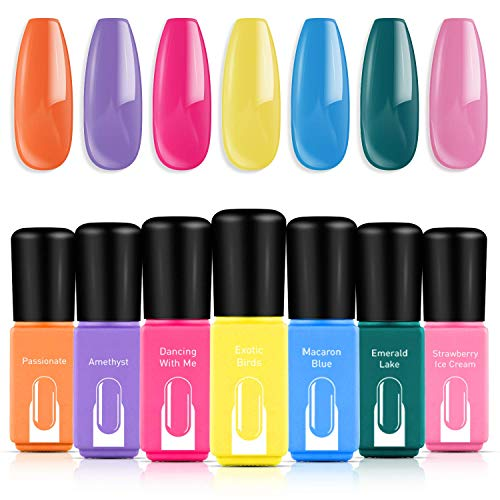 Modelones Gel Nail Polish Set, 7 Colors Candy Summer Series-Neon Orange Hot Pink Blue Yellow Green Purple-6ml Mini Size Nail Art Boxes UV LED Soak Off Gel Nail Varnish Starter Manicure set