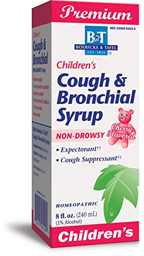 Boericke & Tafel Children's Cough & Bronchial Syrup, Cough Suppressant & Expectorant, Non-Drowsy, Homeopathic, Cherry Flavor, 8 Ounce