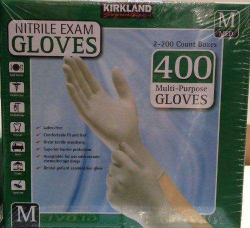 Kirkland Signature Nitrile Exam Gloves, Size Med. 200-Count (2-Pack)