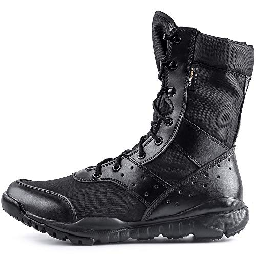 WWOODTOMLINSON Men's LD Lightweight Combat Boots Military Tactical Boots,Black,12 M US