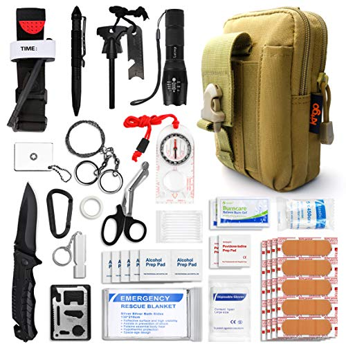 Kitgo Survival Kit Safety First Aid Kit with Pro Emergency Tool Outdoor Survival Gear Tactical Small Molle Pouch for Home Kitchen Car Boat Camping Hiking Hunting Cycling Adventures (Khaki)