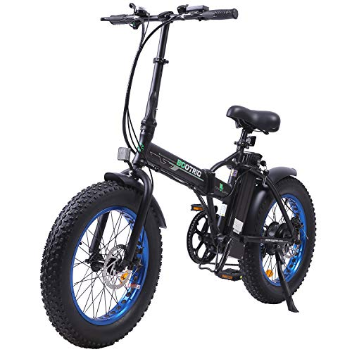 ECOTRIC Electric Fat Tire Bicycle Folding Bike 12Ah 36V 500W Lithium Battery Beach Snow Mountain 20' Ebike Moped (Black & Blue)
