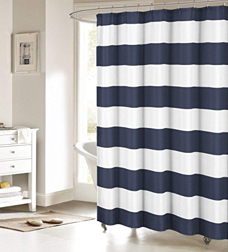 ALAGEO Nautical Stripe Design Fabric Shower Curtain Curtains - Navy and White 72' x 72'