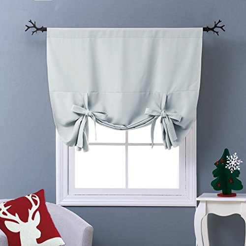 NICETOWN Balloon Shades Window Treatment Valance - Room Darkening Curtain Tie Up Shade for Small Window (Greyish White, Rod Pocket Panel, 46 inches W x 63 inches L)