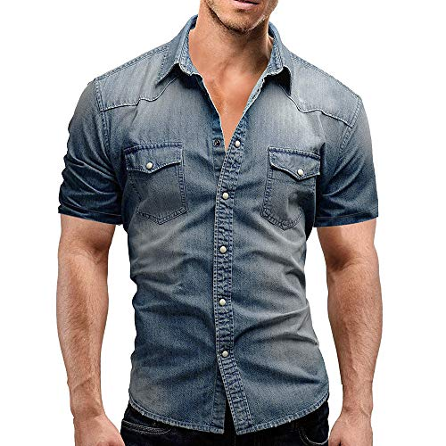 Men's Casual Shirts Summer Short Sleeve Turn-Down Slim Fit Button with Pocket Tops Blouse (XL, Blue)