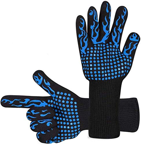 BBQ Gloves, Oven Gloves 1472℉ High Temperature Resistant Protective Gloves Food Grade Kitchen Grill Gloves, Silicone Non-Slip Cooking Gloves for Barbecue, Cooking, Baking, Welding, Cutting (blue)