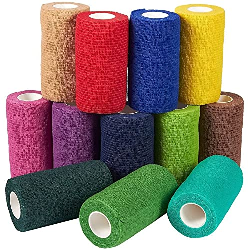 12 Pack Self Adhesive Bandage Wrap, Cohesive Medical Tape, 12 Colors (4 In x 5 Yards)