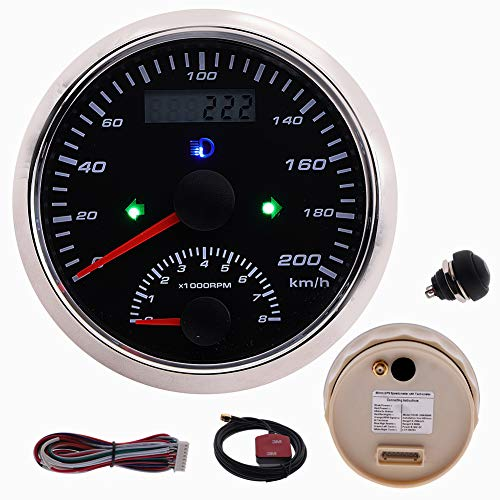GPS Speedometer Gauge Odometer 200km/h with Tachometer 0-8000RPM with GPS Antenna Backlight for Marine Motorcycle 85MM Waterproof