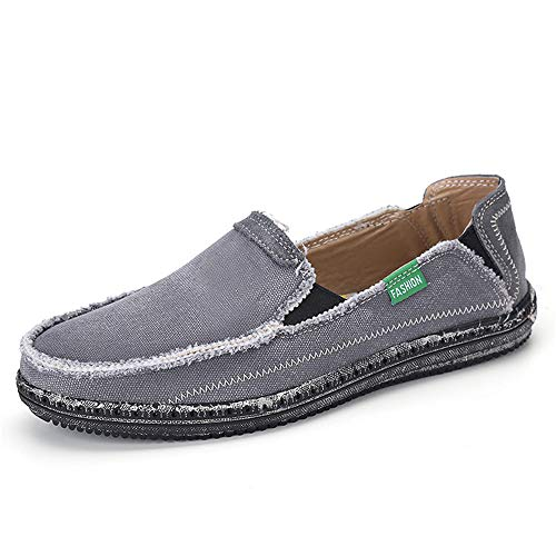 JAMONWU Mens Canvas Shoes Slip on Deck Shoes Boat Shoes Non Slip Casual Loafer Flat Outdoor Sneakers (9.5 US,Grey2)