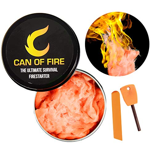 CAN OF FIRE Fire Starter Putty The Ultimate Emergency & Survival Firestarter Works in All-Weather Fuel Comes with Magnesium Ferro Rod & Steel Striker (1 Pack - Can of Fire with Mini Ferro Rod)