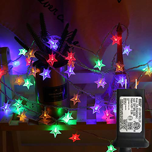 LiyuanQ Star String Lights, 100 LED Plug in String Lights 33 feet 8 Modes Star Fairy Lights Waterproof Twinkle String Lights for Wedding Party Christmas Tree Garden Indoor Outdoor Decor (Multi Color)