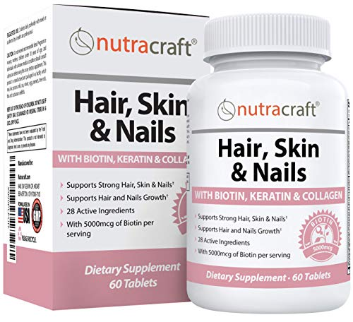 #1 Hair, Skin Nails Supplement with 5000mcg of Biotin, Keratin, Collagen, MSM, Silica & Hyaluronic Acid to Promote Hair Growth, Stronger Nails and Glowing Skin | 60 Tablets (Non-GMO)
