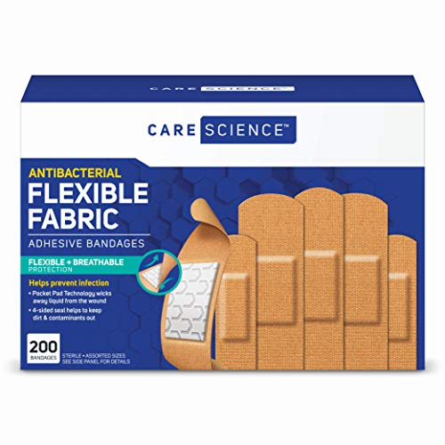 Care Science Antibacterial Fabric Adhesive Bandages, 200 ct Assorted Sizes | Flexible + Breathable Protection Helps Prevent Infection for First Aid and Wound Care