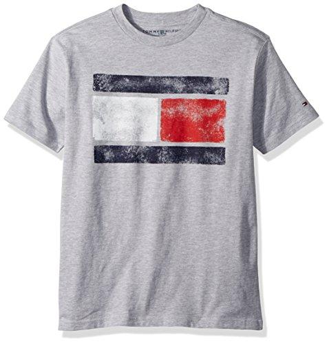 Tommy Hilfiger Big Boy's Tommy Flag Tee Shirt, grey heather, L