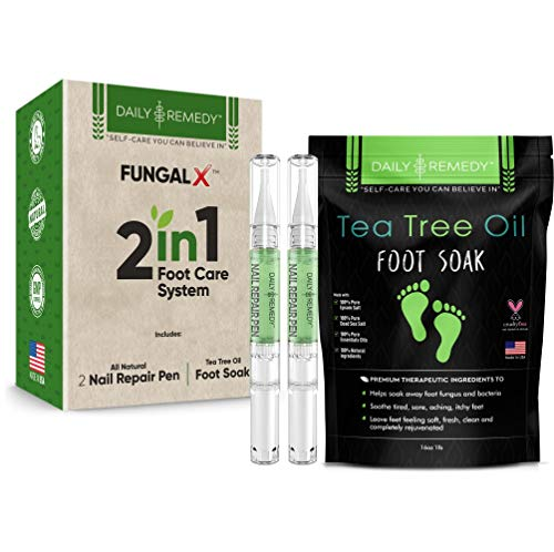 2 in 1 Foot Care Treatment Kit - Includes Tea Tree Oil Foot Soak & Nail Fungus Pen to Get Rid of Toenail Fungus, Athletes Foot, Foot Odor & Removes Foot Calluses - Best Nail Fungus Products