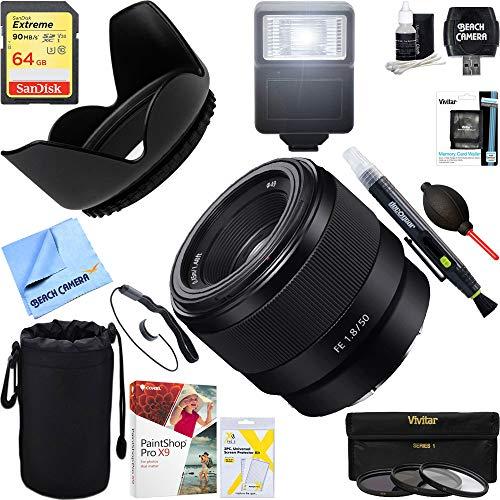 Sony (SEL50F18F FE 50mm F1.8 Full-Frame E-Mount Lens + 64GB Ultimate Filter & Flash Photography Bundle