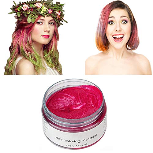 Pink Red Hair Color Wax, Natural Hairstyle Wax 4.23 oz, Temporary Hairstyle Cream for Party, Cosplay, Halloween, Daily use, Date, Clubbing (Pink Red)