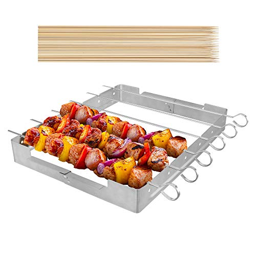 UNICOOK Upgraded Stainless Steel Barbecue Skewer Shish Kabob Set, 6pcs 13.5'L Skewer Sticks with Foldable Large Grill Rack, Keeps Kabobs from Sticking to the Grill Grate, 50pcs Bamboo Skewers as Bonus