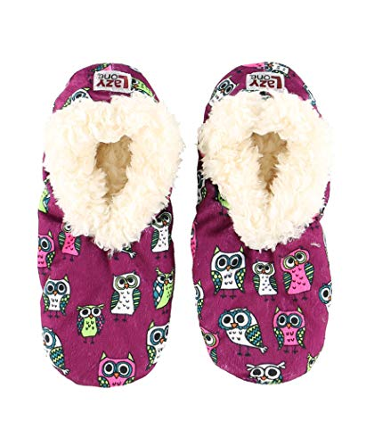 Lazy One Fuzzy Feet Slippers for Women, Owl, Non-Skid