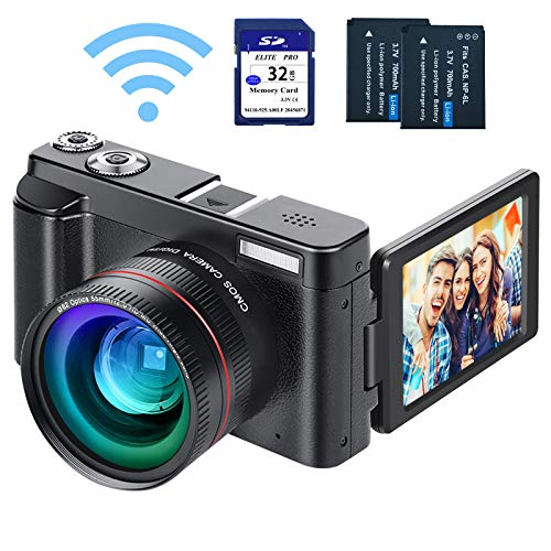 Digital Vlogging Camera YouTube Camera HD 1080P 24MP Video Camcorder with WiFi Connection, 3.0' IPS Flip Screen, Wide Angle Lens,16X Digital Zoom, 2 Batteries, 32GB SD Card