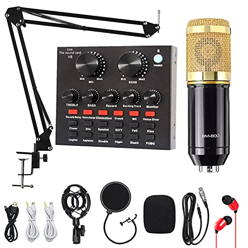 Condenser Microphone, ALPOWL Condenser Microphone Bundle with V8 Live Sound Card for Live Streaming, Singing, YouTube, Gaming, BM 800 Condenser Microphone Kit with Cardioid Design for Gamer (Gold)