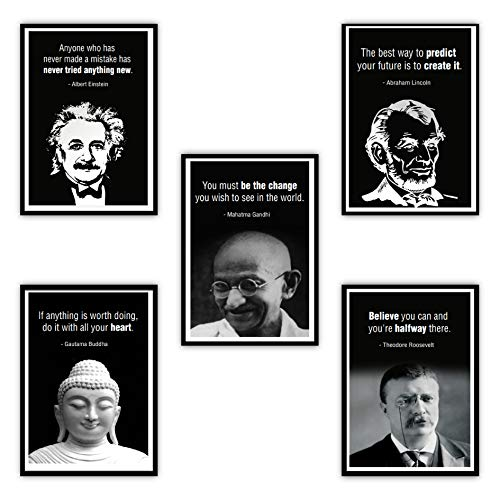 Large Leader Motivational Posters Set for Classroom Teachers Students Home Office | Set of 5 | 11.7'x16.5' | Quotes of Inspiration and Success | Leader Posters History Posters Wall Decor