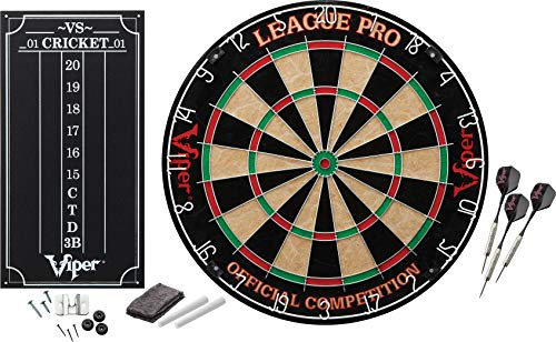 Viper League Pro Regulation Bristle Steel Tip Dartboard Starter Set with Staple-Free Bullseye, Radial Spider Wire, High-Grade Sisal with Rotating Number Ring, Chalk Cricket Scoreboard, Steel Tip Darts