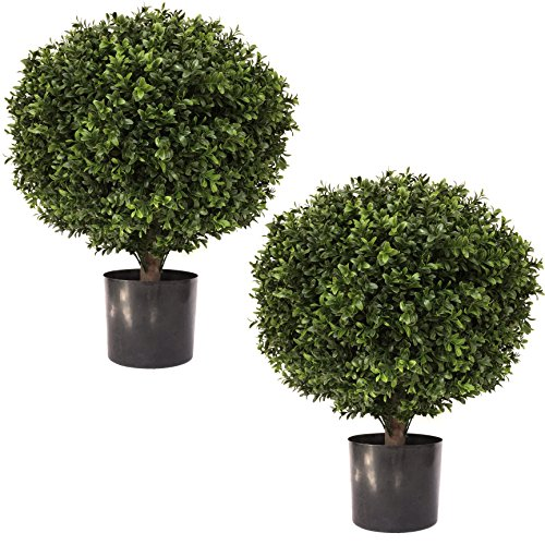 """24"""" Tall 16"""" Round Artificial Topiary Ball Boxwood Trees (Set of 2) by Seven Oaks 