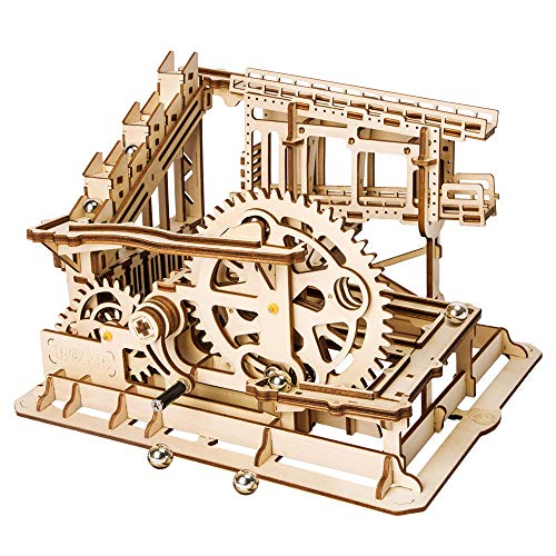 ROBOTIME 3D Wooden Craft Kits Brain Teaser Games Mechanical Gears Set Cog Coaster with Steel Balls Best Buliding Toys for Adutls & Kids