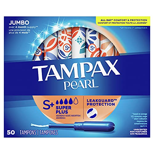 Tampax Pearl Tampons Super Plus Absorbency with BPA-Free Plastic Applicator and LeakGuard Braid, Unscented, 50 Count, (Pack of 4, 200 Total Count)