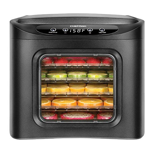 Chefman Food Dehydrator Machine, Touch Screen Electric Multi-Tier Preserver, Meat or Beef Jerky Maker, Fruit Leather, Vegetable Dryer w/ 6 Slide Out Drying Rack Trays & Transparent Door, Black