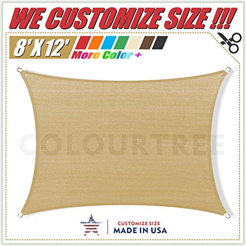 ColourTree 8' x 12' Sand Beige Rectangle Sun Shade Sail Canopy Awning Shelter Fabric Cloth Screen - UV Block UV Resistant Heavy Duty Commercial Grade - Outdoor Patio Carport - (We Make Custom Size)