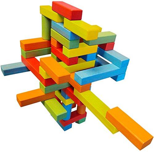 Wooden Bricks 45 Magnetic Building Blocks, Magnetic Building Set consisting of 25 Colorful Wooden Bricks with 2 Magnets, 15 Colorful Wooden Bricks with 3 Magnets, 5 Colorful Wooden risers