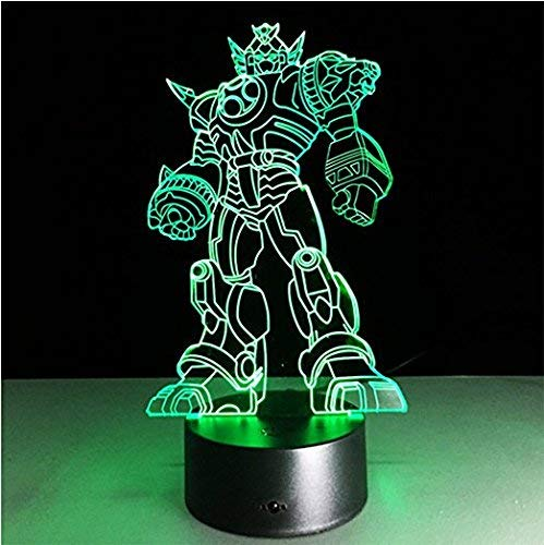 3D Illusion Optimus Prime Night Light Lamp,7 Colors Gradual Changing Touch Switch USB Table Desk Autobots Lamp Best for Gifts or Home Office Decorations