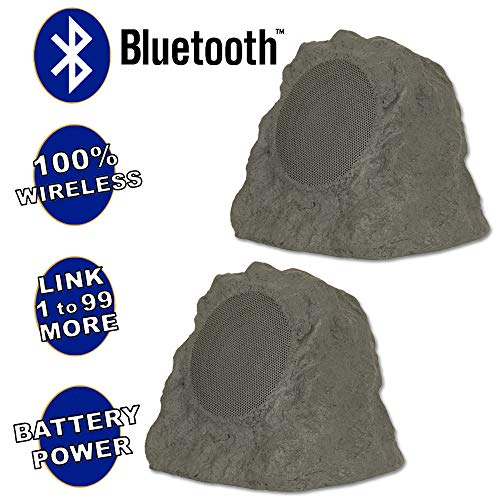 Theater Solutions B43GR Fully Wireless 120 Watt Rechargeable Battery Bluetooth Rock Speaker Pair Slate Grey Link Up to 99 Speakers Wirelessly