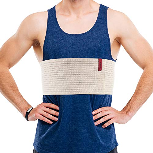 ORTONYX 6.25' Broken Rib Brace for Men and Women - Elastic Chest Wrap Comppression Support Belt - Rehabilitation of Cracked, Fractured, Dislocated Ribs Post-Surgery Aid S/M Beige / ACOX5256-BG-SM