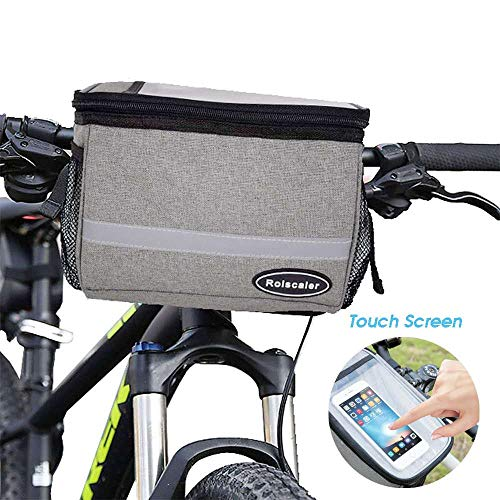 ROLSCALER Bike Handlebar Bag Bike Basket Bicycle Front Storage Bag Pouch Insulated, with Reflective Stripe and Touchable Screen