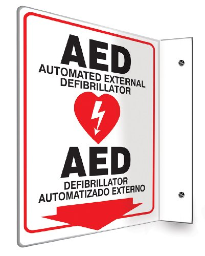 Accuform SBPSP760 Spanish Bilingual Projection Sign 90D, Legend 'AED AUTOMATED EXTERNAL DEFIBRILLATOR/DEFIBRILLATOR AUTOMATIZADO EXTERNO (ARROW)' with Graphic, 12' x 9' Panel, 0.10' Thick High-Impact Plastic, Pre-Drilled Mounting Holes, Red/Black on White