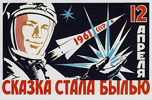 Vintage Soviet space poster of cosmonaut Yuri Gagarin holding a star Poster Print by John ParrotStocktrek Images (17 x 11)