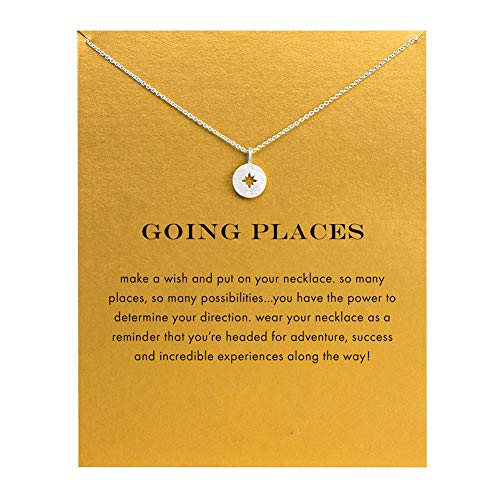 Message Card Graduation Gift Compass Necklace Good Luck Bar Pendant Necklace for Women Jewelry