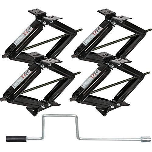 Weize RV Trailer Camper Stabilizer Leveling Scissor Jacks with Handle-24'- 5000lbs - Set Of 4