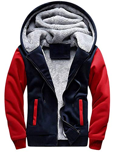 MANLUODANNI Men's Casual Hooed Hoodies Thick Wool Warm Winter Jacket Coats Red L