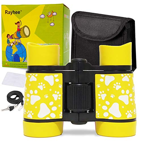 Rayhee Rubber 4x30mm Toy Binoculars for Kids - Bird Watching - Educational Learning - Hunting - Hiking - Birthday Presents - Gifts for Children - Outdoor Play (Print Yellow)