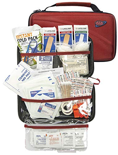 LIFELINE-4180 AAA 121 Piece Road Trip First Aid Kit packaged in compact hard shell foam carry case, ideal for emergency use in cars, camping, hiking, or offices alike- Red