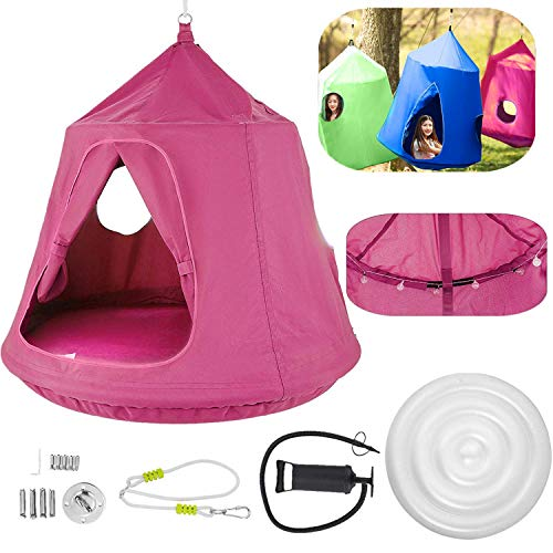 OrangeA Hanging Tree Tent Pink Hanging Tree Tent for Kids 46 H x 43.4 Diam Hanging Tree House Tent Waterproof Portable Indoor or Outdoor Use with Led Decoration Lights