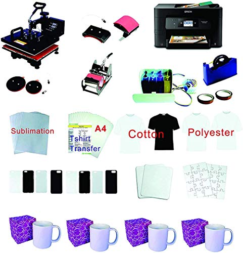 5in1 12'x15' Pro Sublimation Heat Transfer Machine WF-3720 Printer CISS KIT Package